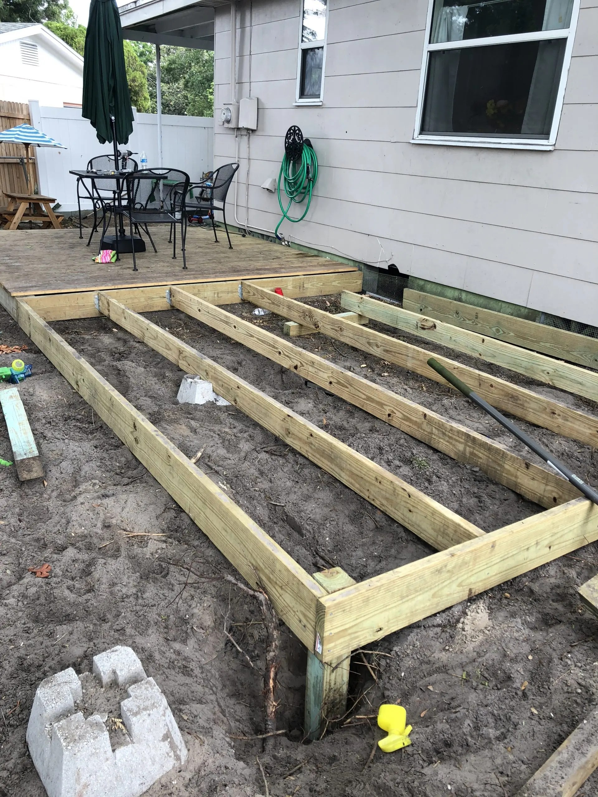 framing the addition to my frugal floating deck