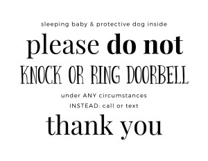 do not disturb - postpartum sign