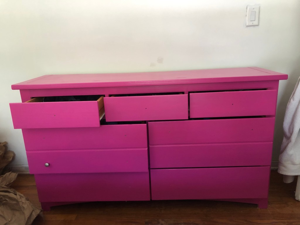 2 coats of furniture paint on dresser in exuberant pink from Sherwood Williams
