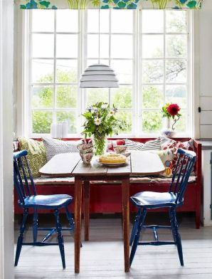 Blue Dining Chairs With Red Bench
