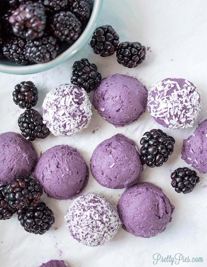 Low-Carb Blackberry Cake Balls (Keto, Paleo, Vegan) PrettyPies.com