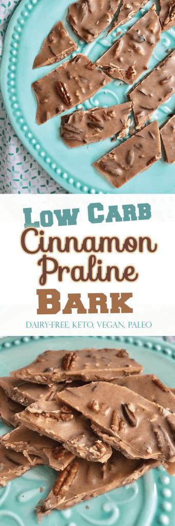 Low Carb Cinnamon Praline Bark. 6 ingredients, NO sugar! Irresistible soft crunch! - PrettyPies.com #vegan #paleo #keto