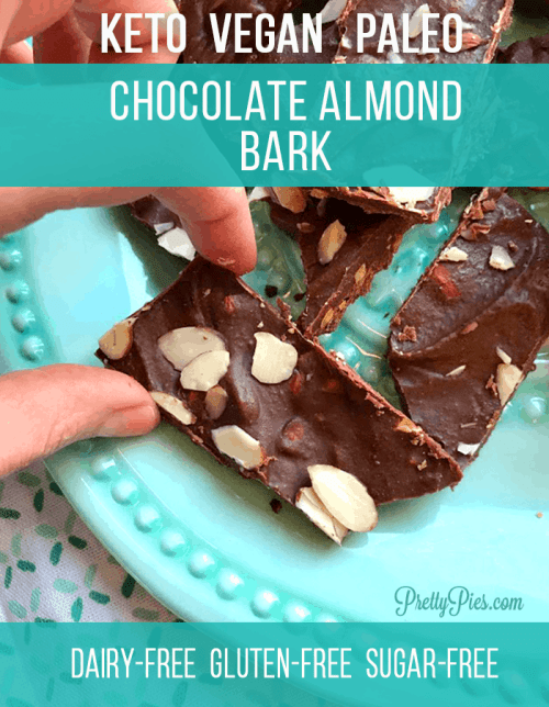 Guilt-Free Homemade Chocolate (made with almond butter!) Keto, Vegan, Paleo and irresistibly crunchy. This chocolate almond bark recipe takes less than 5 minutes! Sugar-Free, Dairy-Free, Low-Carb and healthy! #prettypies #ketorecipes #homemadechocolate #almondbark #lowcarb #healthydesserts