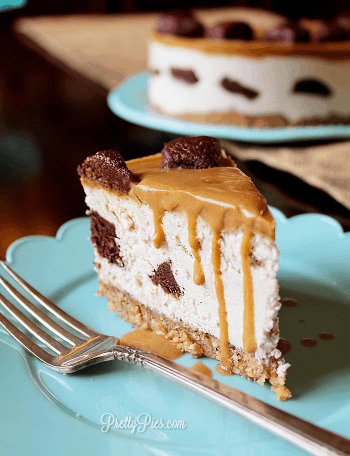 Caramel Brownie Chunk Cheesecake (Low-Carb, Paleo, Vegan) PrettyPIes.com