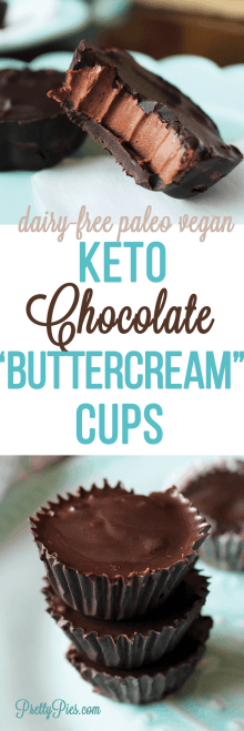 Keto Chocolate Buttercream Cups! These don't taste low-carb! Sinfully good. Quick & easy dessert recipe without sugar or dairy. #prettypies #keto #sugarfree #dairyfree #healthydesserts #chocolate