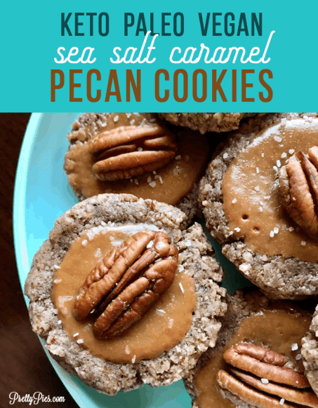 Sea Salt Caramel Pecan Cookies! Tender, buttery pecan cookies coated in gooey caramel and sea salt. Sweet & salty delish! And totally LOW-CARB. These cookies are killer! {You won't believe there's NO flour, sugar, butter or eggs!}   #glutenfree #cleaneating #keto #vegandesserts #paleorecipes from PrettyPies.com