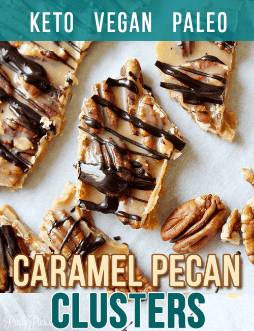 Crunchy munchy delicious! These dairy-free, sugar-free Caramel Pecan Clusters are a quick and easy low-carb/keto treat made with simple, whole food ingredients (2 net carbs!) #prettypies #caramel #pecan #keto #lowcarb #ketodesserts #dairyfree