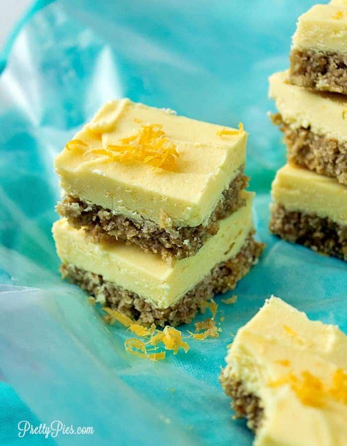 Lemon Cheesecake Bars (Dairy-Free, Keto, Paleo, Vegan) PrettyPies.com