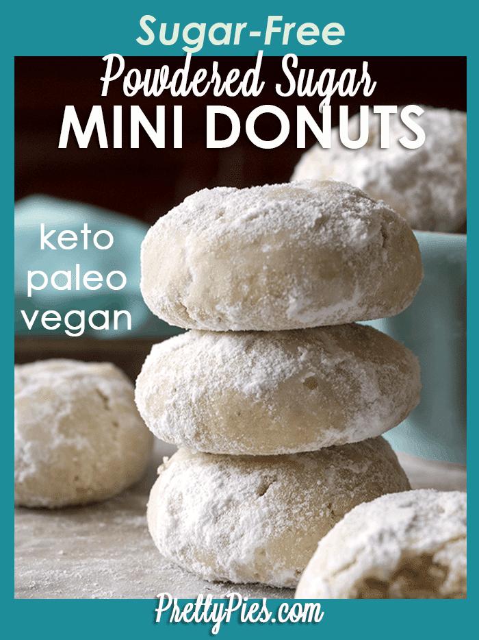 powdered sugar mini donuts (keto, paleo, vegan) prettypies.com
