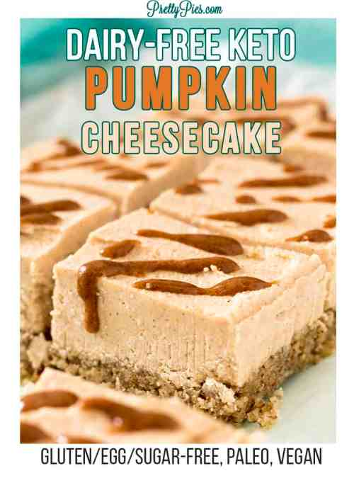 Pumpkin Cheesecake Bars - Dairy-Free Keto, PrettyPies.com