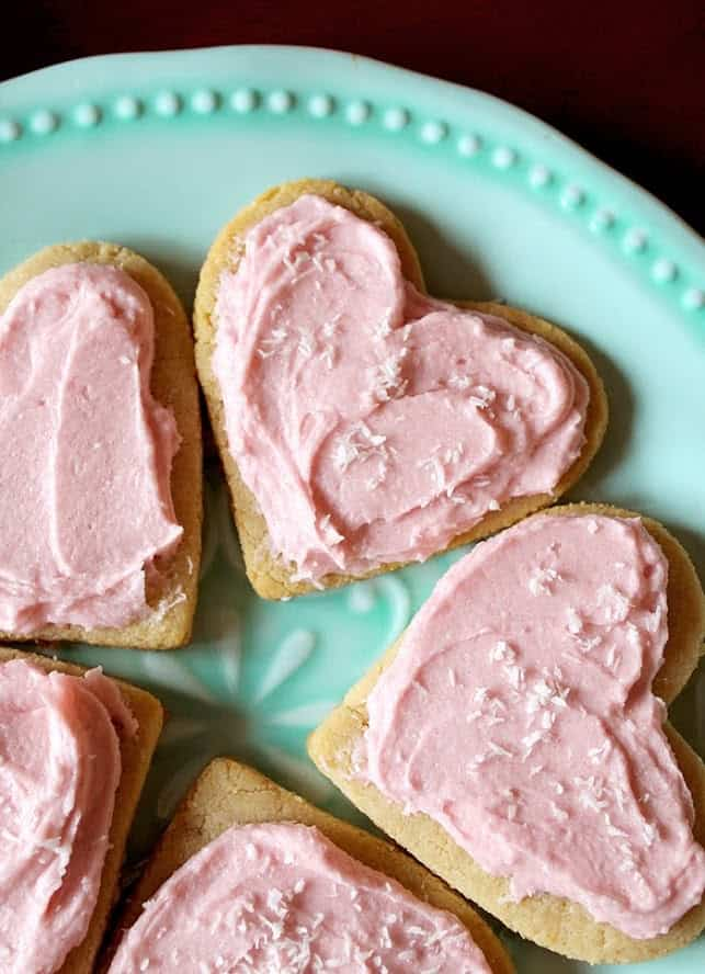keto heart cookies with pink frosting