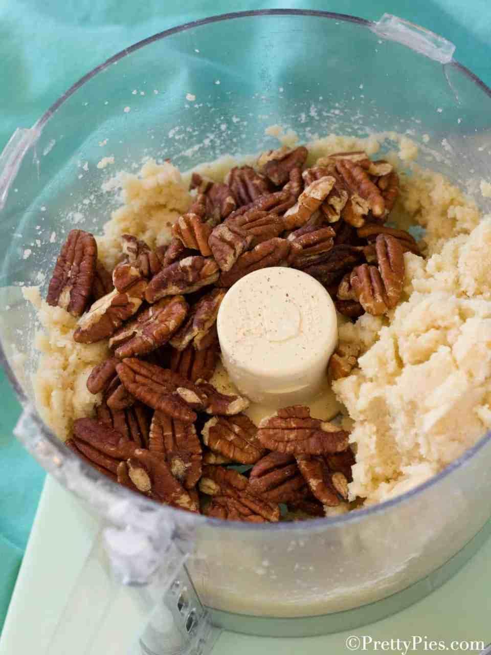 Ingredients for Keto Mexican Wedding Cookies in food processor