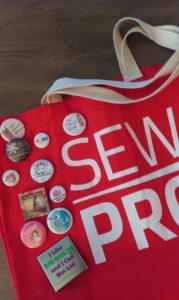 Our swag bags were perfect for displaying the buttons we swapped.