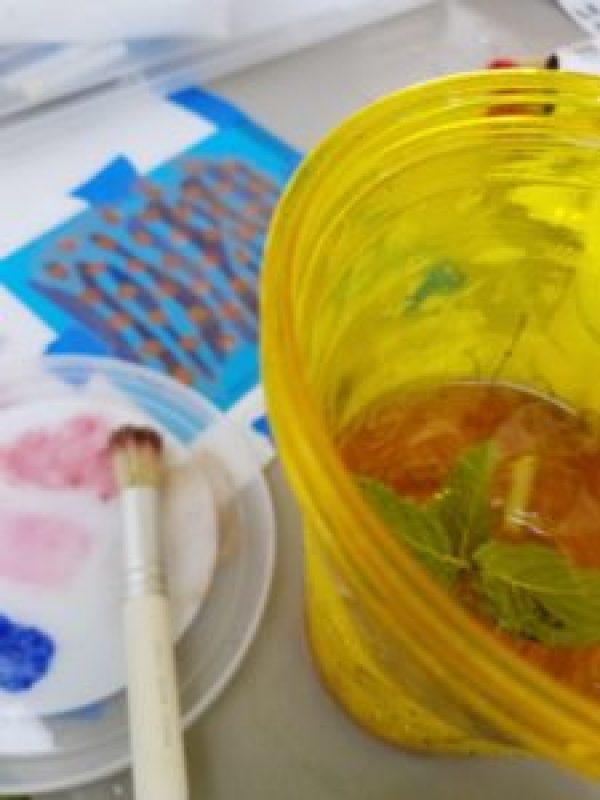 mint julep with stencils