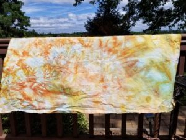 One of the pieces randomly dyed with leftover solution