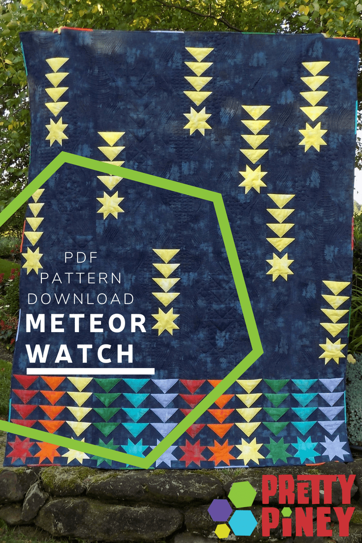 Catch a falling star with this pattern for confident beginners! Piece 4 flying geese at a time for a quick quilt, then cozy up for a night under the stars.
