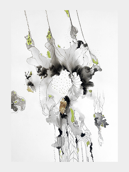 spontaneous impressions of watercolour on paper in grey and black with details of nature elements and lime green colour