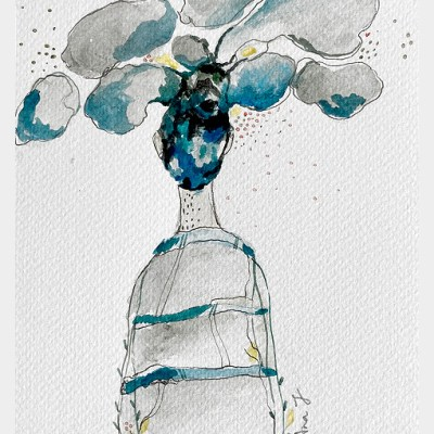 back of a woman with striped tshirt with blue and grey clouds coming out of her head
