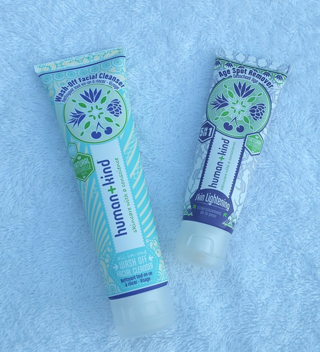 Human+Kind Age Spot Remover and wash off facial cleanser