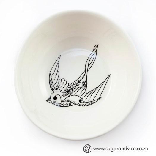 Flying Solo Snack / Trinket Ceramic Bowl Sugar & Vice