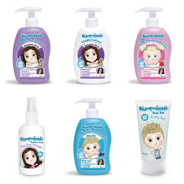 Shampooheads hair care range for kids Awesome Annie Raging Rosie Busy Bob