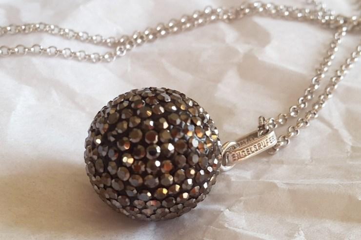 Large Grey Crystal Sound Ball Pendant
