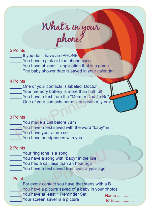photo regarding What's in Your Phone Baby Shower Game Free Printable identified as Warm Air Balloon Little one Shower Video games Pack