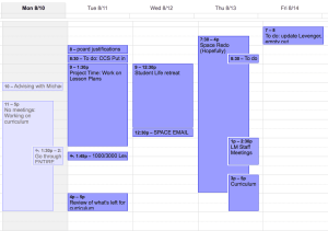 Example of what my work Calendar might look like