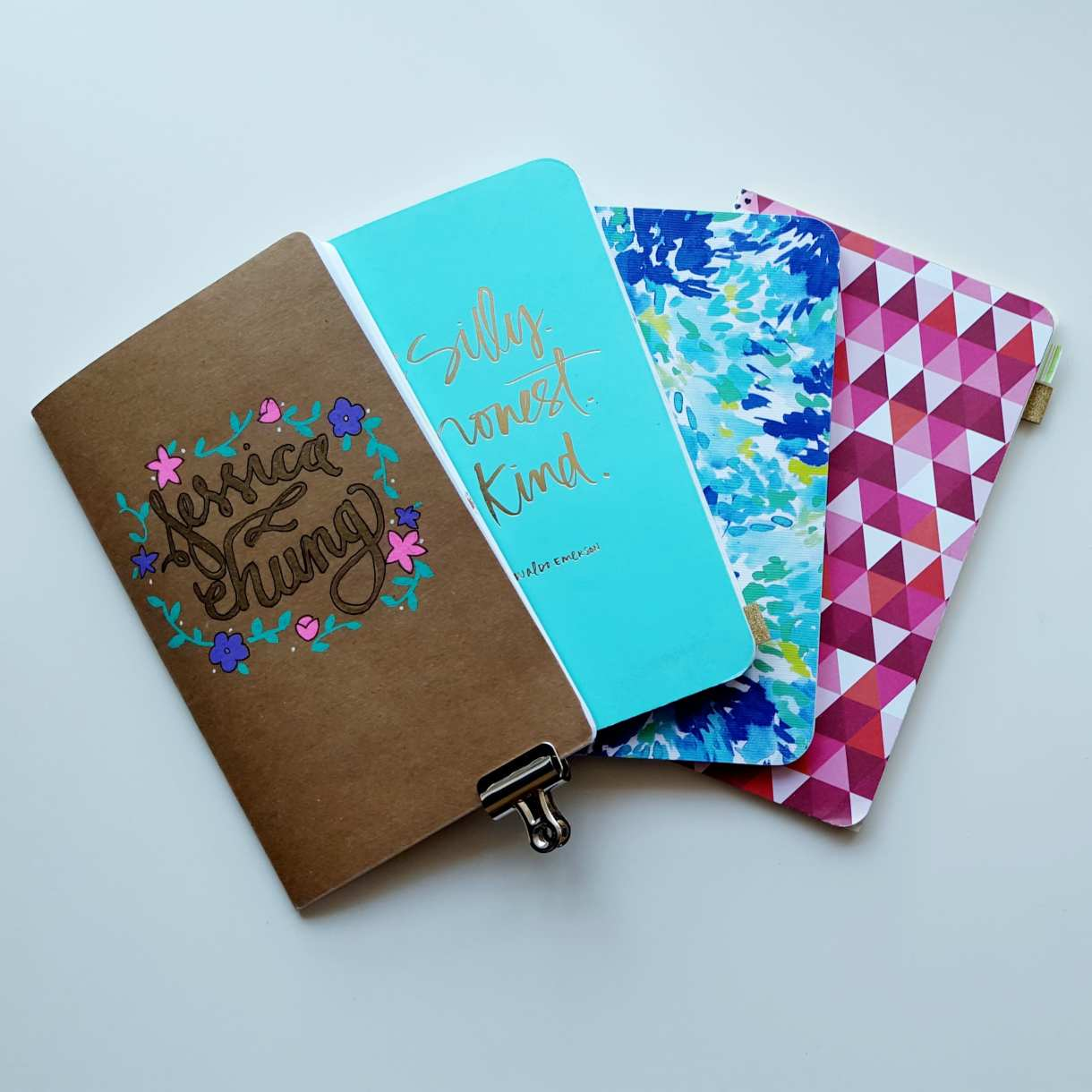 My adapted bullet journal in these 4 Inserts inside my traveler's notebook system - planning, daily log, blog/shop, and collections/lists // www.prettyprintsandpaper.com