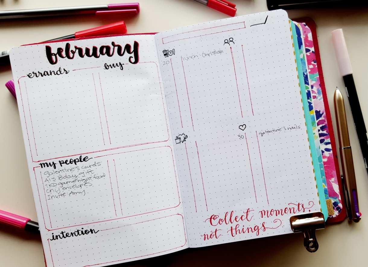 February Bullet Journal Expense and Errand Tracker