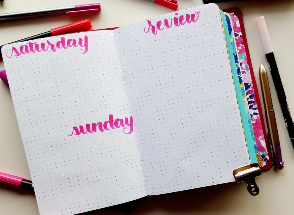 Adapt your bullet journal layout how you need to - to wrap up my week I have the weekend plus a review. // www.prettyprintsandpaper.com