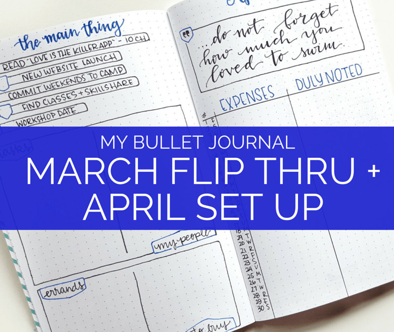 See a flip through of my March bullet journal and how I'm setting up April // www.prettyprintsandpaper.com