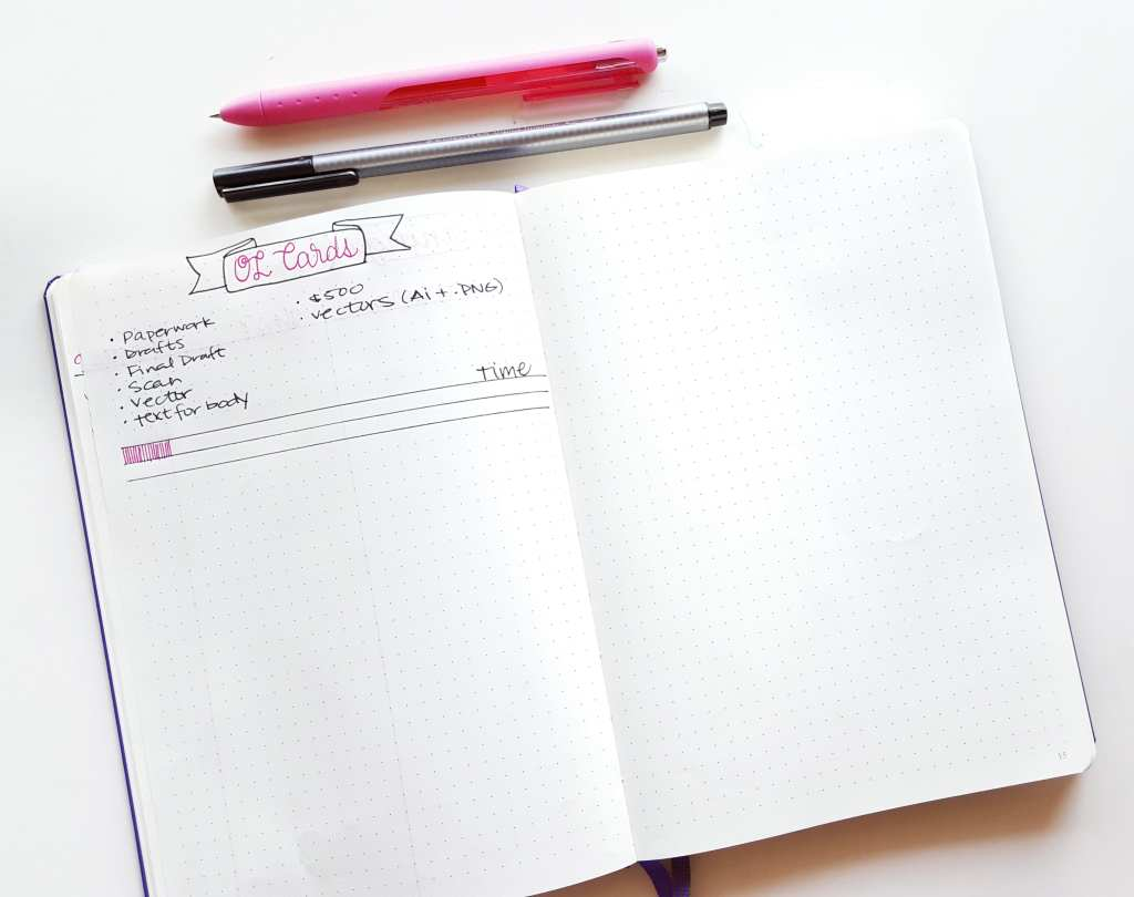 Example of a project collection in my freelance bullet journal // www.prettyprintsandpaper.com