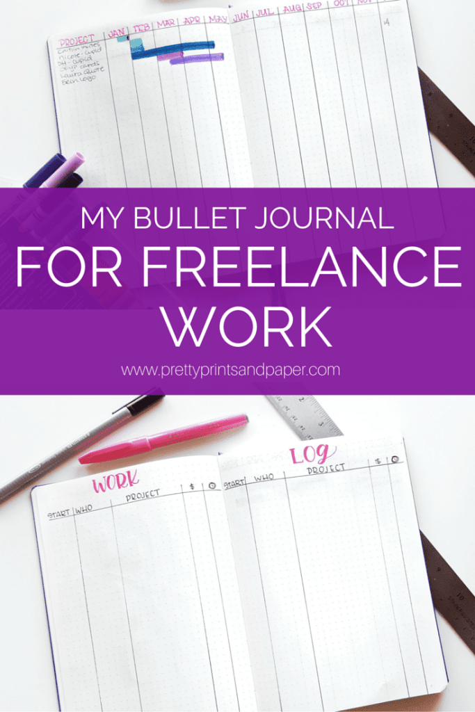 Are a freelancer and bullet journalist? Check out how I've set my journal up for my calligraphy business! // www.prettyprintsandpaper.com