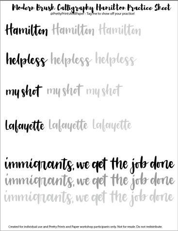 Free Hamilton Calligraphy Practice Sheet