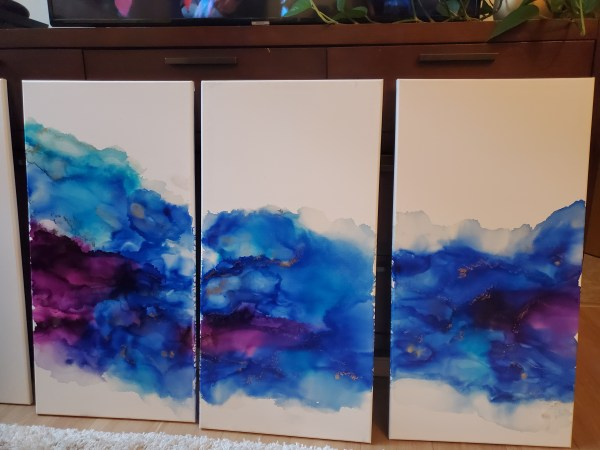 triptych alcohol ink canvas