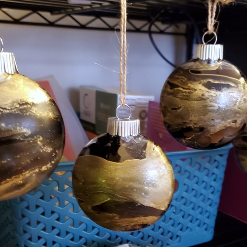 black and gold ornaments