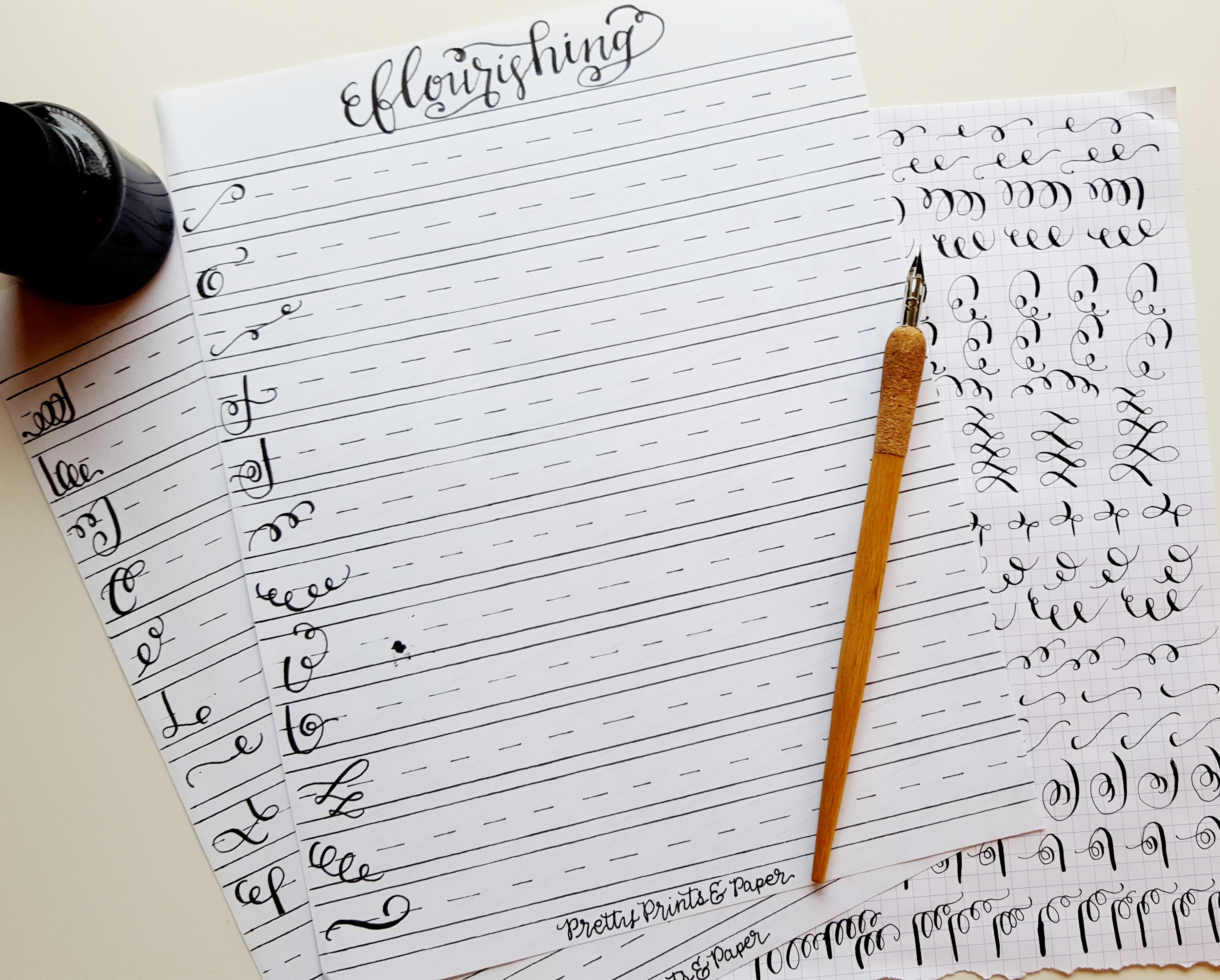 Calligraphy Flourish Drill Sheet Pretty Prints Amp Paper