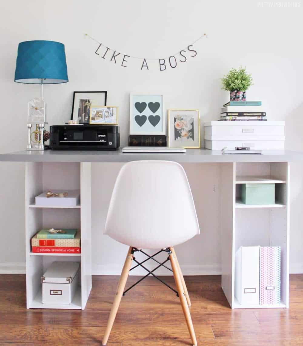 IKEA HACK Desk with Storage Shelves   Pretty Providence The perfect IKEA hack desk for a home office or craft room