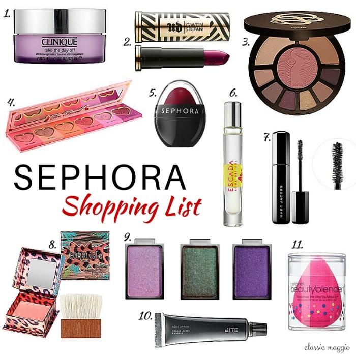 Sephora Shopping List
