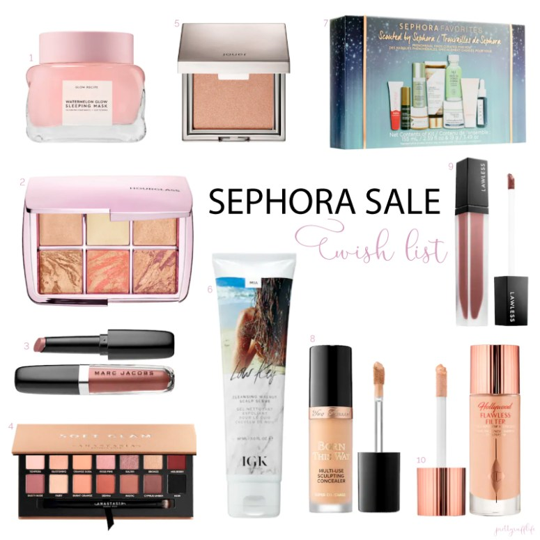 a collage of various beauty products from Sephora