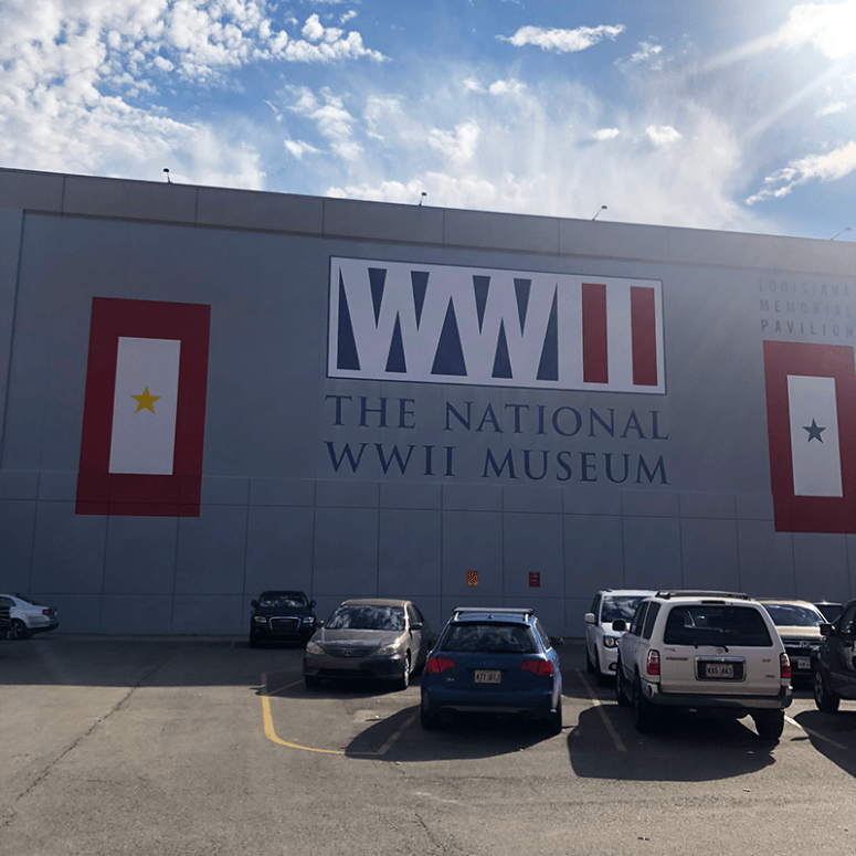 A view of the outside of the National World War II Museum in New Orleans