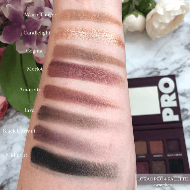 Arm swatches of the Lorac Pro 4 eyeshadow palette