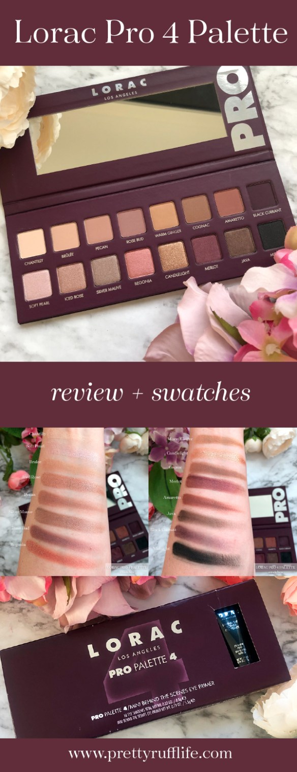 pictures of the Lorac Pro 4 palette including closeups of the palette and arm swatches of the eyeshadow shades