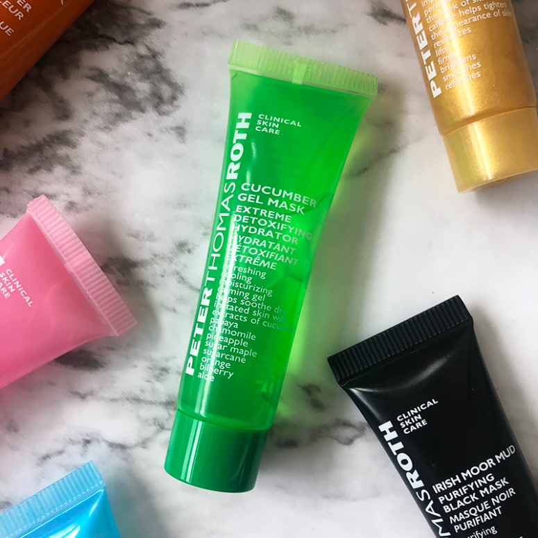 a close up of the Peter Thomas Roth Cucumber Gel Mask on a marble background