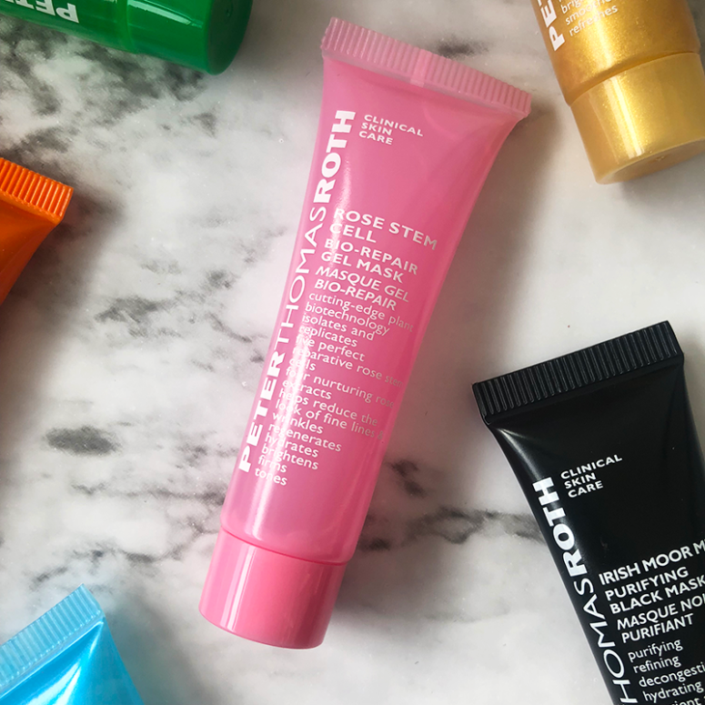 a close up of the Peter Thomas Roth Rose Stem Cell Mask on a marble background