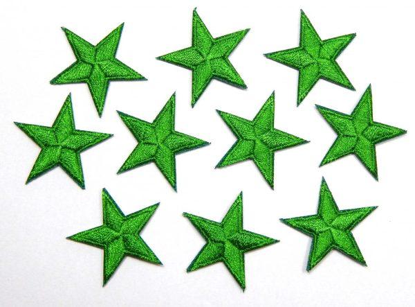 Green iron on stars