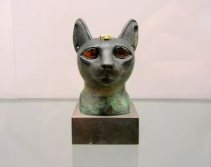 Cat head sculpture from ancient Egypt
