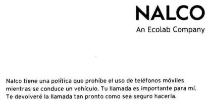 Nalco - Politica de volante sin moviles