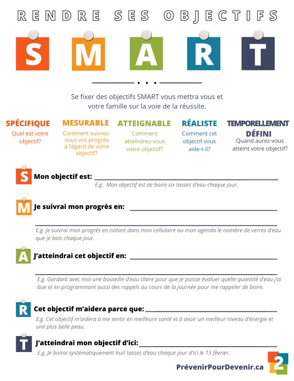 Fichier de planification d'objectifs SMART